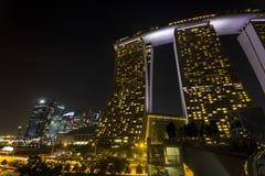 Marina Bay Sands at night Stock Image