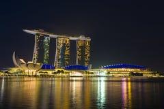Marina Bay Sands at night Royalty Free Stock Photos