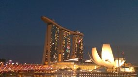 Marina Bay Sands Observation Deck and ArtScience Museum Royalty Free Stock Photo