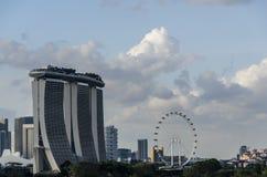 Marina Bay Sands och Singapore reklamblad Arkivbild