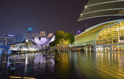 Marina Bay Sands Promenade Event Plaza with The Shoppes and Art Science Museum & Louis Vuitton Island Maison. Singapore Marina Bay Sands Promenade Event Royalty Free Stock Image
