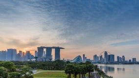 Marina Bay Sands Resort bei Sonnenuntergang stockfoto