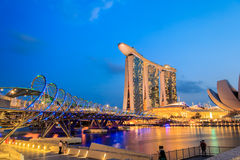 The Marina Bay Sands Resort Hotel link with Helix Bridge Royalty Free Stock Photo