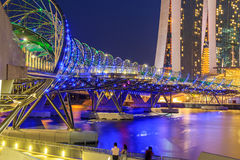 The Marina Bay Sands Resort Hotel link with Helix Bridge Royalty Free Stock Image