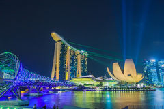 The Marina Bay Sands Resort Hotel link with Helix Bridge Stock Photography