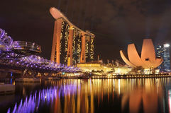 Marina Bay Sands Resort Hotel. SINGAPORE - DEC 29: Night view of Marina Bay Sands Resort Hotel on Dec 29, 2012 in Singapore. It is billed as the world's most Stock Images