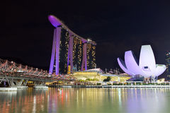 The Marina Bay Sands Resort Hotel. SINGAPORE-MAY 9: The Marina Bay Sands Resort Hotel on May 9, 2015 in Singapore. It is an integrated resort and the world's Stock Images