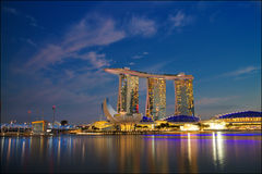 The Marina Bay Sands Resort Hotel. SINGAPORE-MAY 9: The Marina Bay Sands Resort Hotel on May 9, 2015 in Singapore. It is an integrated resort and the world's Stock Image