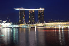 Marina Bay Sands,Singapore. Marina Bay Sands Integrated Resort /Casino with shopping mall at night,Singapore, view from merlion park Royalty Free Stock Image