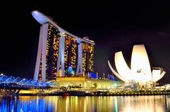 Marina Bay Sands Singapore. Night View of The Marina Bay Sands Hotel and the Singapore Arts and Science Museum Stock Photo