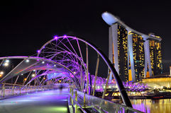 Marina Bay Sands Singapore. Night View of The Marina Bay Sands Hotel and the Double Helix Bridge Royalty Free Stock Photos