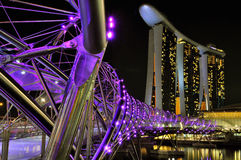Marina Bay Sands Singapore. Night View of The Marina Bay Sands Hotel and the Double Helix Bridge Royalty Free Stock Photo