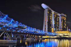 Marina Bay Sands Singapore. Night View of The Marina Bay Sands Hotel and the Double Helix Bridge Stock Image
