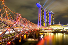 Marina Bay Sands in Singapore. Marina Bay Sands and the Helix bridge in Singapore (Asia Stock Images