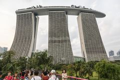 Marina Bay Sands in Singapore. The complex is topped by a 340-metre-long  SkyPark with a capacity of 3,900 people and a 150 m  infinity swimming pool, set on top Royalty Free Stock Photography