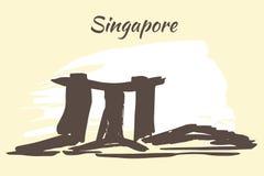 Marina Bay sands - Singapore. Marina Bay sands and Flower domes - Singapore. Isolated on white background stock illustration