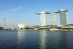 Marina Bay Sands and Singapore Flyer Stock Photography