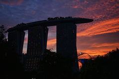 Marina Bay Sands, Singapore. I took this photo when I was standing at the front door of Gardens by the Bay. The sunset was so damn really freaking beautiful. I Stock Images