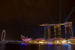 Marina bay sands, SINGAPORE-JUN 14, 2015 : view of marina bay sa. Nds with light laser show at night light , Singapore on June 14, 2015 Stock Photo