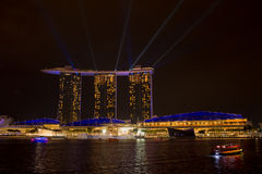 Marina bay sands, SINGAPORE-JUN 14, 2015 : view of marina bay sa. Nds with light laser show at night light , Singapore on June 14, 2015 Stock Photography