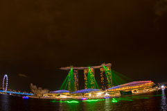 Marina bay sands, SINGAPORE-JUN 14, 2015 : view of marina bay sa. Nds with light laser show at night light , Singapore on June 14, 2015 Royalty Free Stock Photo