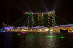 Marina bay sands, SINGAPORE-JUN 14, 2015 : view of marina bay sa. Nds with light laser show at night light , Singapore on June 14, 2015 Royalty Free Stock Images