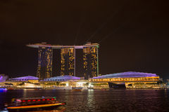 Marina bay sands, SINGAPORE-JUN 14, 2015 : view of marina bay sa. Nds with light laser show at night light , Singapore on June 14, 2015 Stock Image