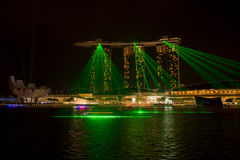 Marina bay sands, SINGAPORE-JUN 14, 2015 : view of marina bay sa. Nds with light laser show at night light , Singapore on June 14, 2015 Royalty Free Stock Photos