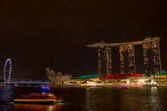 Marina bay sands, SINGAPORE-JUN 14, 2015 : view of marina bay sa. Nds with light laser show at night light , Singapore on June 14, 2015 Royalty Free Stock Photography