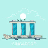 Marina Bay Sands in Singapore Linear Flat vector d. Marina Bay Sands in Singapore country design template. Linear Flat famous historic sight; cartoon style web royalty free illustration