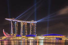 Marina Bay Sands, SINGAPORE. March 25: Marina Bay Sands Night Light March 26,2014, SINGAPORE Royalty Free Stock Images