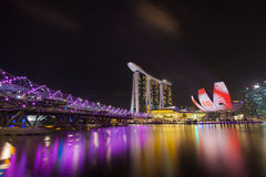 Marina Bay Sands, SINGAPORE. March 25: Marina Bay Sands Night Light March 26,2014, SINGAPORE Stock Photography