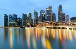 MARINA BAY SANDS, SINGAPORE - May 23, 2017: Colorful Singapore C. Ity skyline on the bridge at morning Marina Bay Sands Royalty Free Stock Photo