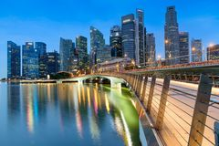 MARINA BAY SANDS, SINGAPORE - May 23, 2017: Colorful Singapore C. Ity skyline on the bridge at morning Marina Bay Sands Royalty Free Stock Photo