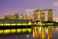 MARINA BAY SANDS, SINGAPORE - May 23, 2017: Marina Bay Hotel vie. W from Marina Barrage at night in  Marina Bay Sands Singapore Royalty Free Stock Photo