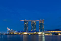 Marina Bay Sands in Singapore by night. Singapore, Singapore - January 30, 2015: Marina Bay Sands by night Stock Photo
