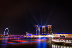 Marina bay sands in Singapore. Night laser show at Marina bay sands in Singapore stock image