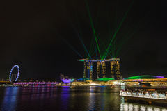 Marina bay sands in Singapore. Night laser show at Marina bay sands in Singapore stock photo