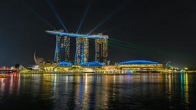 Marina Bay Sands, Singapore at night. Laser show at Marina Bay Sands, Singapore at night Stock Photos