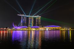 Marina Bay Sands, Singapore at night. Laser show at Marina Bay Sands, Singapore at night Royalty Free Stock Images