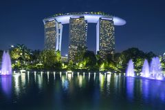 Marina Bay Sands Singapore at night. Singapore. November 06, 2017: Amazing landscape of Marina Bay Sands Hotel Singapore at night from Gardens by the Bay with Royalty Free Stock Photos