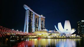 Marina Bay Sands Singapore Night Scene. Singapore most prominent landmarks. Marina Bay Sands is part of Singapore Garden City`s pride and joy. A most-go place Royalty Free Stock Photo