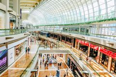 View of the interior of The Shops at Marina Bay Sands Mall .Marina Bay Sands is one of Singapore`s largest luxury shopping malls. Marina Bay Sands, Singapore royalty free stock photo