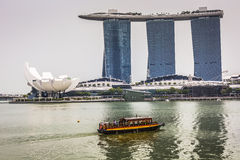 MARINA BAY SANDS, SINGAPORE NOVEMBER 05, 2015: Beautiful day at Stock Photos