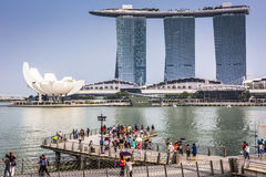 MARINA BAY SANDS, SINGAPORE NOVEMBER 05, 2015: Beautiful day at Stock Photo