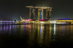 MARINA BAY SANDS, SINGAPORE NOVEMBER 05, 2015: Beautiful laser s Royalty Free Stock Photography