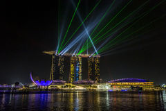 MARINA BAY SANDS, SINGAPORE NOVEMBER 05, 2015: Beautiful laser s Stock Photos