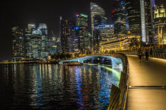MARINA BAY SANDS, SINGAPORE NOVEMBER 05, 2015: Marina Bay waterf. Ront and skyline, Singapore on November 05, 2015 Royalty Free Stock Photography