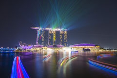 MARINA BAY SANDS, SINGAPORE OCTOBER 12, 2015: beautiful laser sh Stock Photography