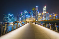 Marina bay sands, SINGAPORE OCTOBER 12, 2015: beautiful walkway Stock Photos